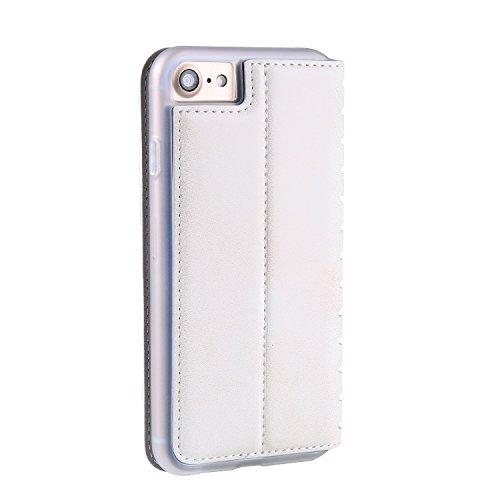Coque iPhone 8/7/7G (4,7 zoll) Étui en Cuir, Ecoway Série Ladder PU Case Cover Flip Cover Emplacement de Carte de Portefeuille Pour iPhone 8/7/7G (4,7 zoll) - rouge blanc