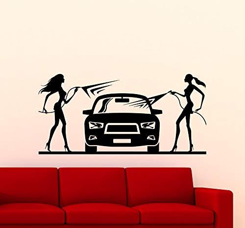 Vinyl Aufkleber Home Interior Decor Car Wash Wandtattoos Wohnzimmer Abnehmbare Mädchen Waschen Ein Auto Wandaufkleber Z 62x30 cm