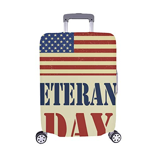 (Nur abdecken) Veterans Day American Flag Spandex-Staubschutz Trolley Protector case-Koffer Reisegepäck-Schutzkoffer-Abdeckung 28,5 X 20,5 Zoll - Veteran Flag Banner