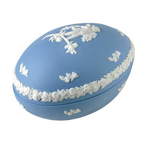 Wedgwood Blauer Jasperware Ostereierbox im Vintage-Stil der 70er Jahre Wegwood weiß Relief Cherub & Floral Bordüre, hellblauer Jaspis Wedgewood Jasperware
