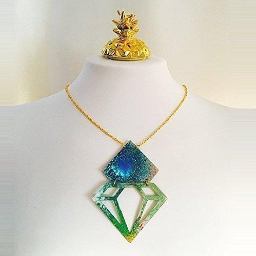 Aquarell-Diamant-Halskette - Diamant-Halskette - Aquarell-Schmuck - Schmuck Tropfen Effekt - Diamanten Form Zubehör - Diamant-Anhänger