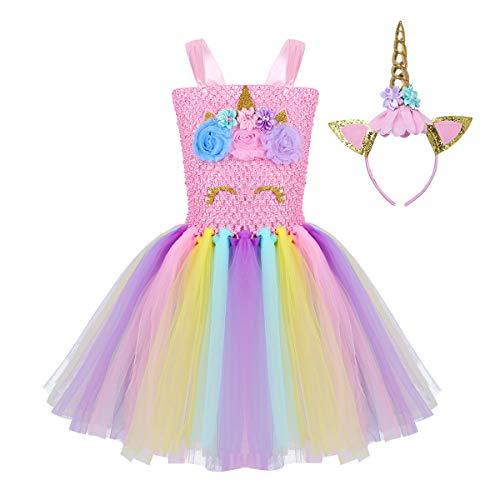 iEFiEL Einhorn Kostüm für Kinder - komplettes Prinzessin Kostüm Set für Mädchen Kleid mit Blumen Haarreif Zu Karneval Cosplay Fasching (116-122, Rosa Stil - Blumen Mädchen Kostüm Halloween