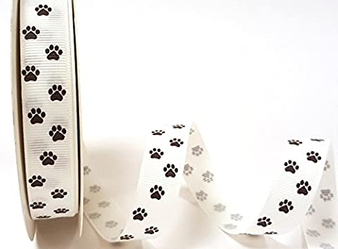 Bertie de nœuds Imprimé pattes Blanc 16mm sur une longueur 3m ruban gros-grain enroulé sur une carte Bertie nœuds de ruban (Note: Cette Coupe est de un rouleau)