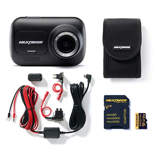Nextbase 122 Full 1080p HD In Car Dash Cam Camera Bundle Kit with Mount, Hardwire Kit, 64GB SD Card and case included