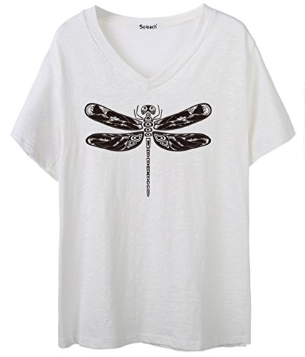 So'each Women's Animal Dragonfly Graphic V-Neck Tee T-Shirt Ladies Casual Top (T-shirt Cap Womens Sleeve Hot)