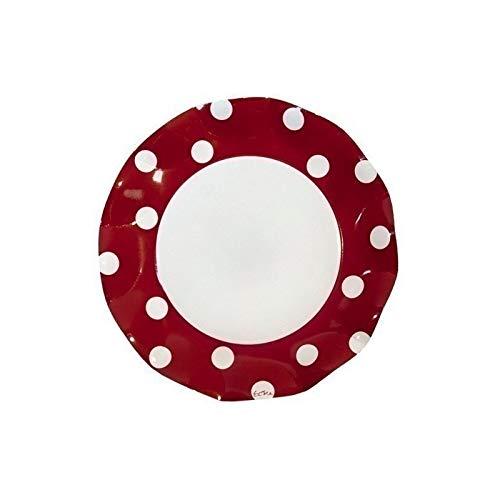 Assiette plate ø 27 cm pois rouge x10-10 pièces
