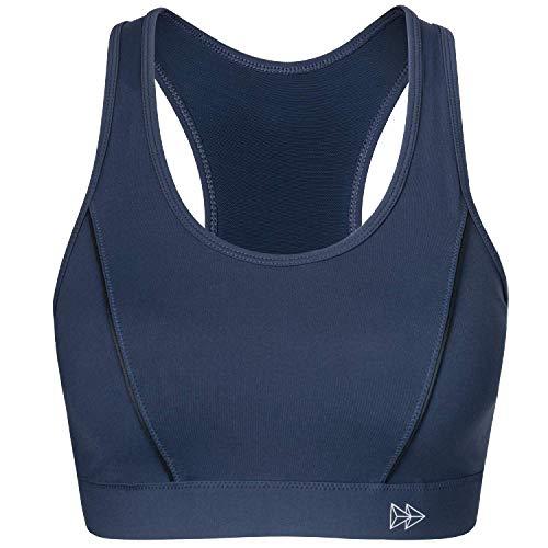 Geformten Brust (Yvette Sport BH Starker Halt Große Brüste Ohne Bügel Gepolstert für Fitness, Yoga, Joggen, Laufen, Navy Blau)