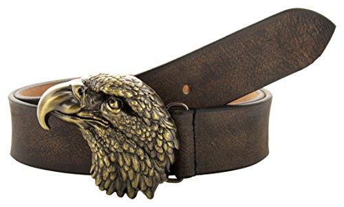 CCBELTS Creative Crafts Leather Belt With Unique 3D Eagle Design Buckle