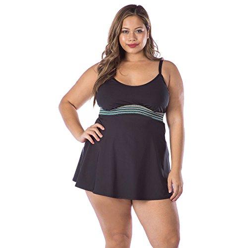 Kenneth Cole REACTION Damen Plus Size Slimming Tankini Swimsuit Top Tankinioberteil, schwarz, 2X Kenneth Cole Reaction Step