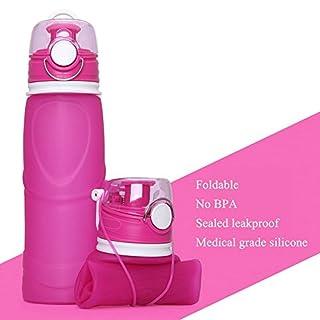 SINBROL Faltbare Trinkflasche, BPA-Frei, klappbar Wasser Flasche Silikon, auslaufsicher, Faltbar, für Sport, Reise, Radfahren, Camping Auslaufsichere Fahrradflasche, Sporttrinkflasche 750ml