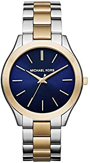 Michael Kors Slim Runway Watch for Women - Analog Stainless Steel Band