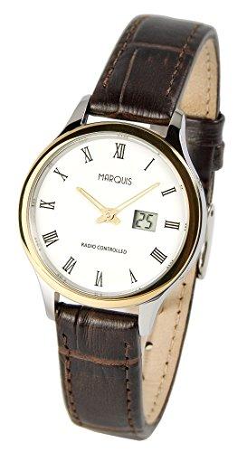 Reloj para mujer elegante Marqués (Junghans-negras) correa de piel marrón, caja de acero inoxidable-bicolour 964.4735