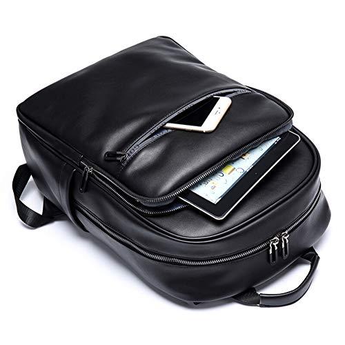 FENPING-Men's backpack Mochila de Cuero Suave para Hombres Mochila de Moda para Hombres Bolsa de Ordenador multifunción Mochila de Viaje de Gran Capacidad Azul Marino