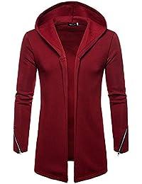 ZIYOU Kapuzen Jacke Herren, Fitness Strickjacke Einfarbig Langarm Sweatshirt Kapuzenpullover Freizeit Wärme Outwear Trenchcoat