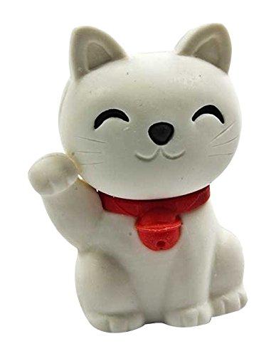 Puzzle Radiergummi weiße Glückskatze Katze zum sammeln