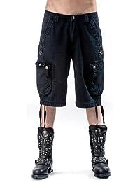 Herren 3/4 Hose mit 2 Seitentaschen und D Ringen schwarz in verschiedenen Größen Queen of Darkness