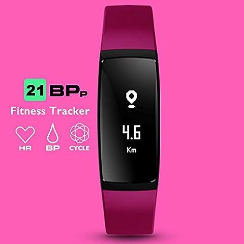 Aupalla® 21BPp Fitness-Armband / Fitness-Tracker / Activity-Tracker für Damen, mit Blutdruck- und Herzfrequenzmesser, Überwachung des weiblichen Zyklus, Schrittzähler, Schlafüberwachung, GPS, Kalorienzähler, Entfernungsmesser, kompatibel nur mit iPhone, Android, Smartphone, violett