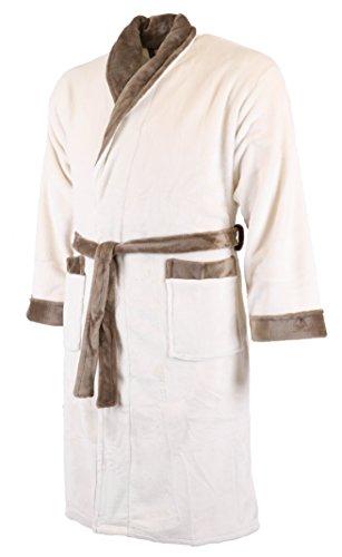 Betz Super Soft Bademantel UNISEX Saunabademantel Morgenmantel Damen Herren beige mit braunem Schalkragen Größe: S/M