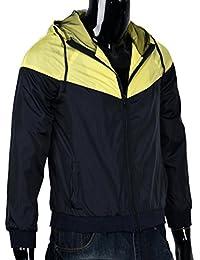 Ropa de abrigo para hombre, RETUROM Estilo de moda caliente de color de costura de los hombres de la chaqueta con capucha abrigo de deportes