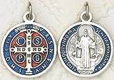 Medalla redonda de San Benito con crucifijo; 2 cm, azul y roja - - - -