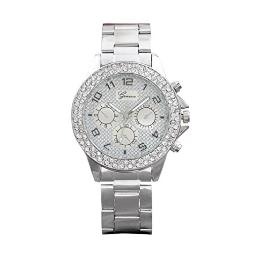 Beikoard promozioni Geneva Double Ring Six Stitches Grind Arenaceous The Font Diamond Watch (Argento)