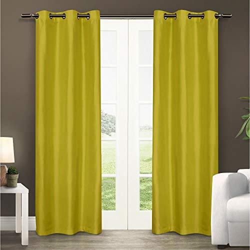 Exclusive Home Dupionseide Tülle Top Fenster Vorhang Panels, Polyester, Lime, 40x84 -