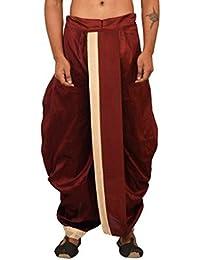 Larwa Men's Silk Dhoti (Dark Red, Free Size)