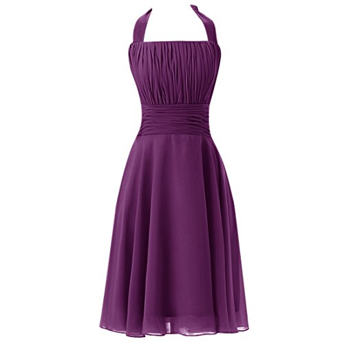 Find Dress Sexy Robe Demoiselle d'Honneur en Mousseline Rétro Rockabilly Swing Robe Plissé Décolleté au Dos pour Cocktail Mariage Col Ligne Robe Noel Femme Raisin