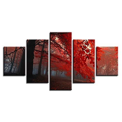 Comecong Dekorative Malerei,HD Inkjet Pflanze Ahornblatt Landschaft fünf Wohnzimmer Kunst Malerei Wandmalerei High-End-Home Craft Malerei Wandbild 14 Malerei Kern 10x15cmx2 10x20cmx2 10x25cmx1