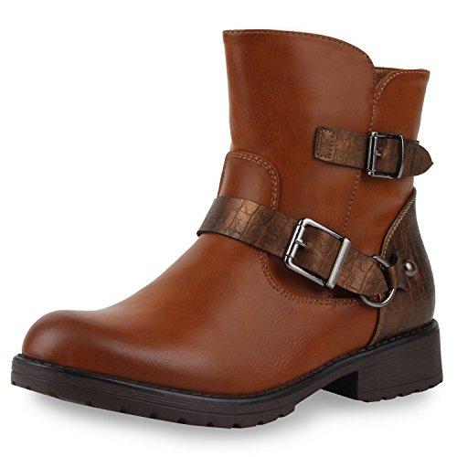napoli-fashion Damen Stiefeletten Stiefel Biker Boots Nieten Warm Gefüttert Schuhe Jennika Braun