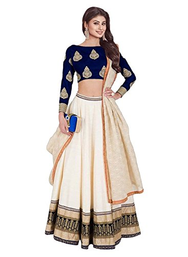 S R Fashion Women's Faux Georgette Lehenga Choli (SRF-5001, Cream)
