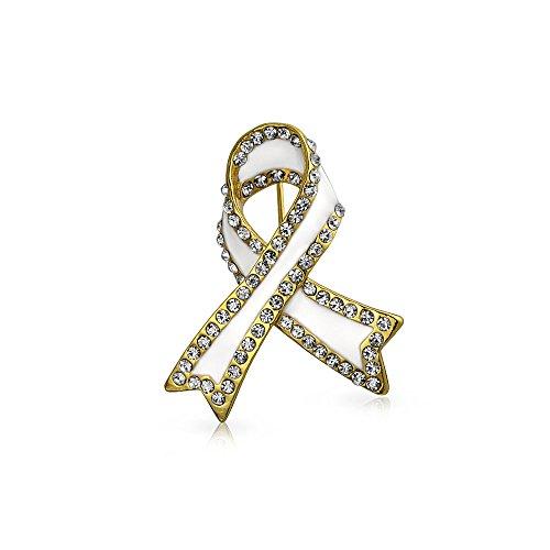 Bling Jewelry Weiß Ribbon Lungenkrebs Survivor Crystal Brosche Pin Für Damen Emaille Vergoldet
