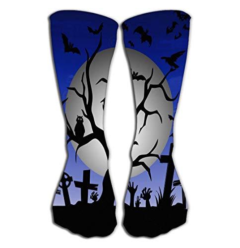 Adigao Hohe Socken Outdoor Sports Men Women High Socks Stocking Happy Halloween Tree Bats owl Gravestone Decoration Full Moon Little Tile Length 19.7