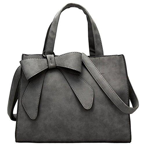 Longra Borsa a tracolla singola borsa di decorazione di bowknot alla moda di donne di colore solido Grigio