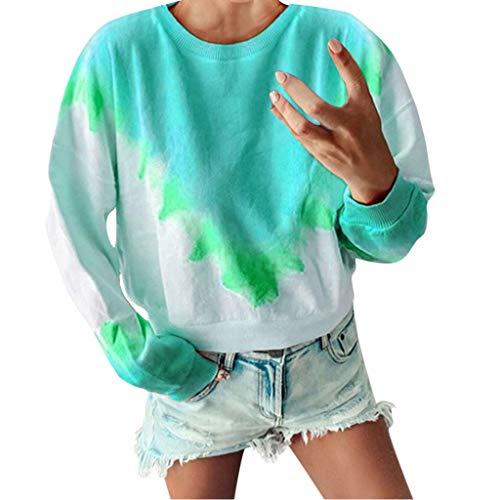 Clacce Damen Langarmshirts Bluse Pullover Sweater Sweatshirt Tie Dye Langarm Sweatshirt Lässig Lang Plus Size Crewneck Blusen - Junioren Tie Dye