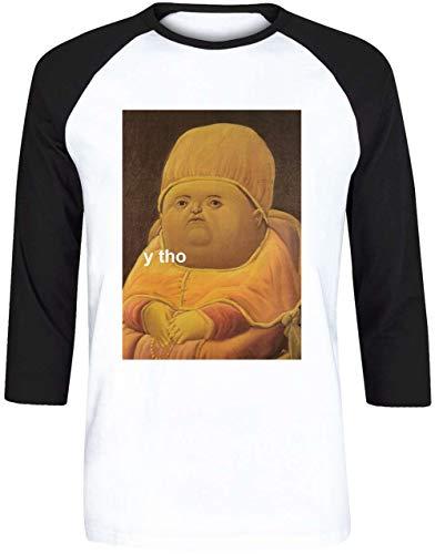 Y THO Unisex Herren Damen Weiß Baseball T-Shirt 3/4 Ärmel | Unisex Men's Women's Baseball T-Shirt