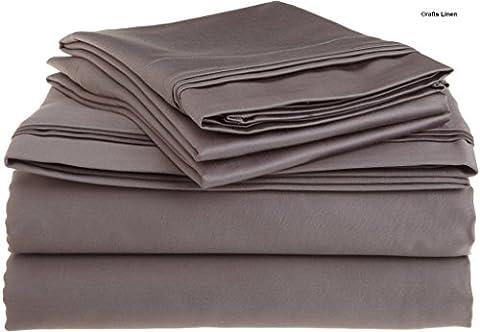 Crafts Linen Egyptian Cotton 400-Thread-Count Sateen 4 PCs Set ( 1 Duvet Cover Zipper Closer,1 Fitted Sheet & 2 Pillow Case) Euro Double Ikea (+18 CM) Pocket Depth, Dark Grey