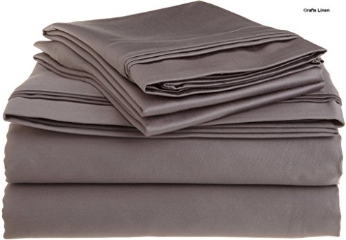 9081 Satin (Crafts Leinen Ägyptische Baumwolle 600-thread-count Super Soft Satin 4-Bettlaken-Set, Dark Grey Solid, 155X220 Cm)