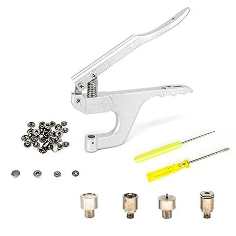S à ressort Pince pour boutons pression avec S Boutons de Pression à ressort de maintien de fixation Outil de Die Lot par Trimming Shop, Métal, Silver, Plier + 15mm Fixing