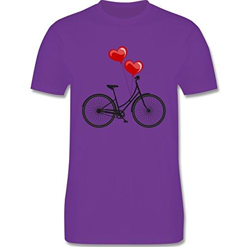 Vintage - Fahrrad Herz Luftballons - Herren Premium T-Shirt Lila