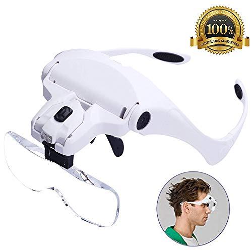 Beleuchtete Lupe Stirnband Lupen Headset Beleuchtung Kopfhalterung Handfree Lupe Schmuck Arbeit Uhr Reparatur Kunsthandwerk Lesehilfe 1,0X 1,5X 2,0X 2,5X 3,5X
