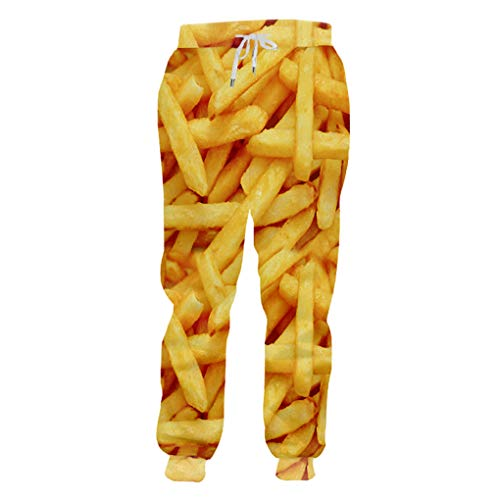 Guyufang Jogger Hosen Männer Mode Lose Lebensmittel 3D Trainingshose Drucken Pommes Frites Chips Streetwear Plus Größe 5XL Kostüm Mann Jogginghose French Fries Chip (Männer Plus Größe Kostüm)