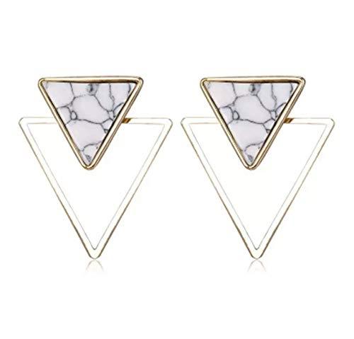Trend Mosaik Stein Ohrringe Dreieck Geometrie weiß gold farben Modeschmuck Damen Ohrstecker handmade Schmuckphantasien