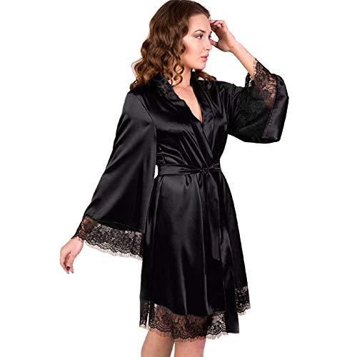 784985c90d Dorical Damen Morgenmantel Maxi Lang Seide Satin Kimono Kleid Einfarbiger  Bademantel Damen Lange Robe Reine Farbe