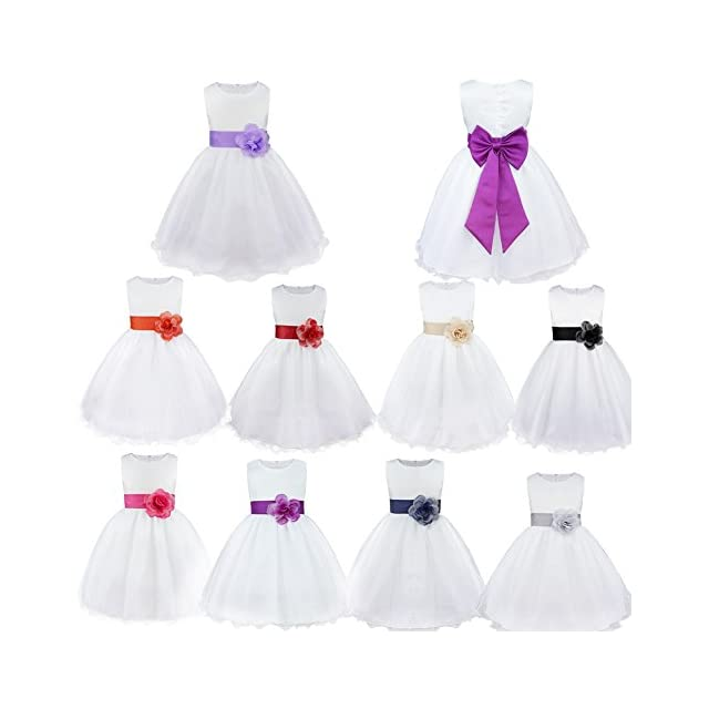 f6966df923fbf Freebily Enfants Filles Robes de Princesse Cérémonie Mariage Parti Tenue  Fleur Robe Fille Grande Noeud Papillon ...