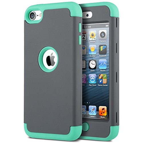 iPod Touch 5 Hülle, ULAK iPod Touch 6 Hülle 3in1 Stoßfest Hybrid High Impact Hart PC und Weiche Silikon Schutzhülle Tasche Case Cover für Apple iPod Touch 5 6 Generation (K-Mint + Grau) (Ipod Touch 5 Generation-halter)