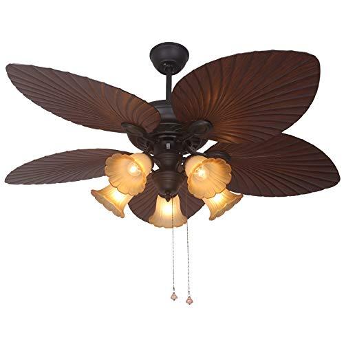 Europäische Retro Deckenventilator Licht Küche Insel Deckenventilator Blattform 5-Licht Kronleuchter Fan Indoor Home Decoration Deckenventilator Lamps52inch -