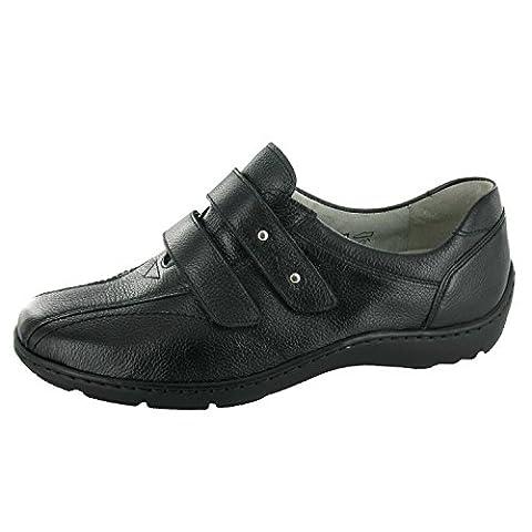 WALDLÄUFER Henni 496301 172 001 Damen Slipper - breite Schuhe, Farben:Schwarz;Größe:43;Weite:H