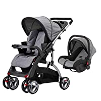 MOM N BEBE BABY STROLLER CUM CAR SEAT WITH REVERSIBLE HANDLE,3 POSITION RECLINING SEAT,ONE HAND FOLD & REMOVABLE PARENT TRAY (C18F+CAR SEAT- GREY)