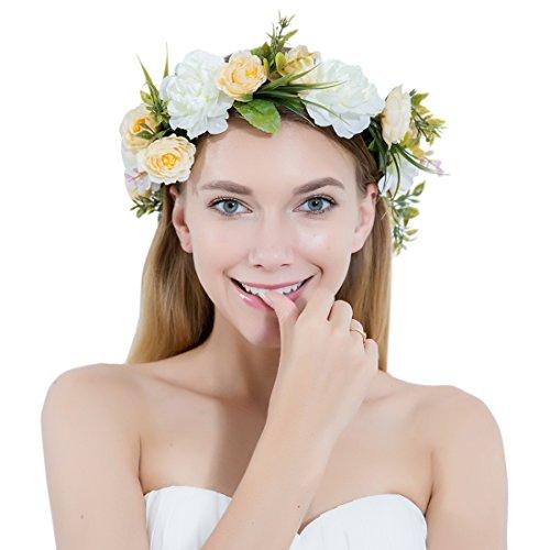Frauen Blumen Kranz Mädchen Blumen Strinband Haarkranz Blume Krone für Hochzeit Festivals